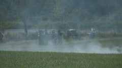 HD Stock-Civil War - Confederate Cannon in Battle - Smoke Stock Footage
