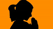 Stock Video Footage of Woman praying orange - HD