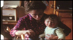 Feeding the baby (vintage 8 mm amateur film) Stock Footage