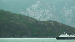 Alaska ferry, inside passage mountains Stock Footage