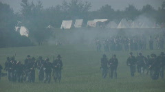 HD Stock - Civil War - Union Troops Retreating in battle under fire Stock Footage