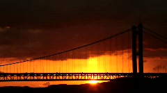 Sunrise and bridge Stock Footage