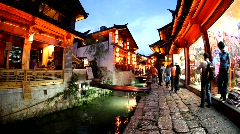Night life in old town Lijiang in Yunnan province, China Stock Footage