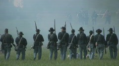 HD Stock -Stock Footage Civil War - Union Infantry pushing forward in battle Stock Footage