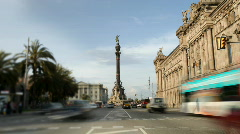 Colon monument landmark iconic city barcelona tourists Stock Footage