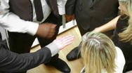 Close-up of businessteam with hands together Stock Footage