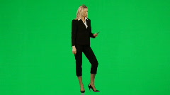 Businesswoman on phone against green screen footage Stock Footage