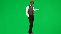 Afro-American architect against green screen - stock footage