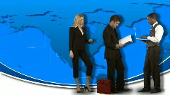 Animation of standing business people with the world in the background - stock footage