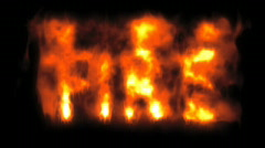 Burning Fire Text Stock Footage