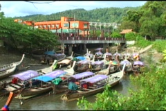 Lovely Cove Filled With Thai Style Fishing Boats Stock Footage