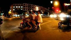 People drive motorcycle at night Stock Footage