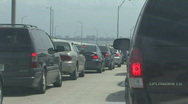 Interstate Traffic Comes To A Stop On Bridge Stock Footage