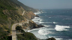 Highway 1 from above, Big Sur, California - stock footage