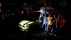 Mini Cooper celebrates 50 years at Clarke Quay, Hong Kong Stock Footage