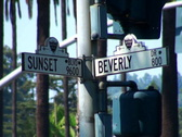 Sunset Beverly Street Signs NTSC Stock Footage