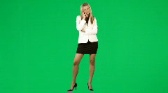 Thoughtful businesswoman against green screen footage Stock Footage