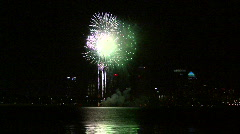 Gasparilla Fireworks Finale Over Tampa Bay With City Skyline Stock Footage