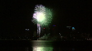 Stock Video Footage of Gasparilla Fireworks Finale Over Tampa Bay With City Skyline