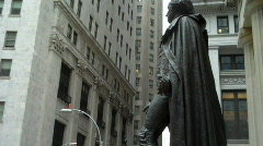 George Washington Statue to Stock Market Pan Stock Footage