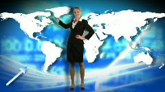 Animation of a businesswoman showing a business graph Stock Footage
