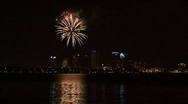 Stock Video Footage of Gasparilla Fireworks Over Tampa Bay With City Skyline