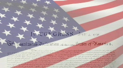 American Flag w/ Declaration of Independence - stock footage