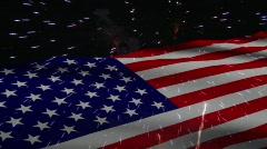 AMERICAN FLAG W/ FIREWORKS HD - stock footage