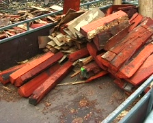 Loading a trailer with logs Stock Footage