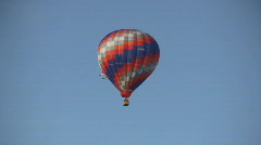 Looking Up At A Hot Air Balloon Flying Stock Footage
