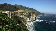Bixby Bridge and Big Sur coastline, California Stock Footage