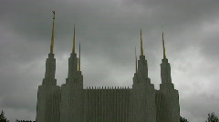 Washington DC Temple spires with clouds Stock Footage