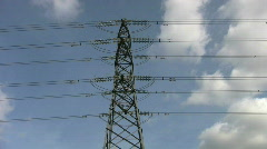 Overhead electricity supply power line pylon or tower. - stock footage