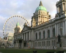 The Belfast Wheel and the City Hall Stock Footage