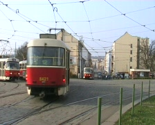 Prague trams. Grand union tramway crossing at Palmovka Stock Footage