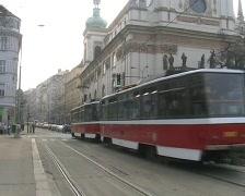Prague trams. Regular traffic at Jecna (Jechna) Street Stock Footage