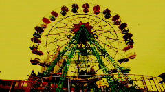Old ferris wheel front view Stock Footage