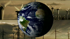 Wind turbine montage with rotating earth - HD Stock Footage