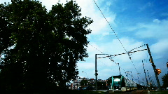Tram passing barcelona Stock Footage