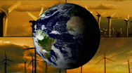 Wind turbines with rotating earth - HD Stock Footage