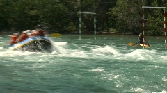 River and waterfall, whitewater raft on river, #1 Stock Footage