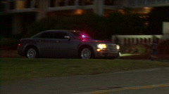 Unmarked Police Car At Night Stock Footage