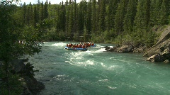 River and waterfall, whitewater raft on river, #2 Stock Footage