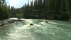 River and waterfall, whitewater raft course on river, montage Stock Footage