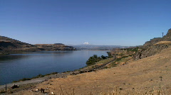 Columbia river with Mt Hood in distance Stock Footage