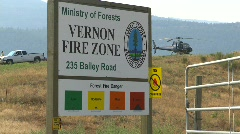 Fire base and fire sign, helicopter in bg Stock Footage