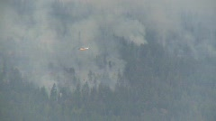 Forest fire and helicopter dropping water Stock Footage