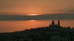 Stock Video Footage of paris sacre coeur sunset