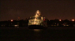 Gasparilla Cruise Ship At Night Stock Footage