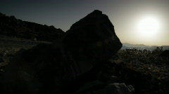 Pan sunset on mountains Stock Footage